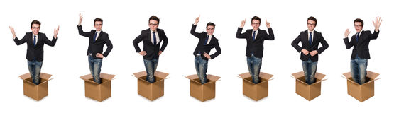 The funny man with boxes isolated on white Royalty Free Stock Photo