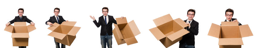 The funny man with boxes isolated on white Stock Images