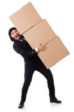 Funny man with boxes Royalty Free Stock Photo