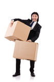 Funny man with boxes Stock Photos