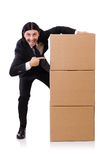 Funny man with boxes. On white royalty free stock photos