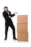 Funny man with boxes Stock Photography