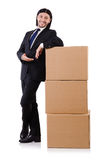 Funny man with boxes Stock Images