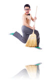 Funny man with broom. On white Royalty Free Stock Photos