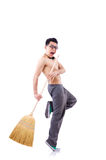 Funny man with broom. On white Stock Images