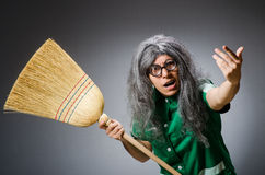 Funny man with brush Royalty Free Stock Image