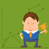 Funny man businessman in cartoon style win  a cup victory. V Royalty Free Stock Photos