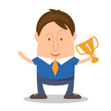 Funny man businessman in cartoon style win a cup victory. V Royalty Free Stock Image