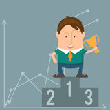 Funny man businessman in cartoon style win  a cup victory. Stock Photo