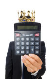Funny man with calculator and abacus Stock Images