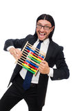 The funny man with calculator and abacus Royalty Free Stock Images