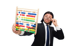 The funny man with calculator and abacus Stock Photography