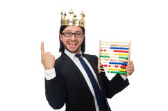 The funny man with calculator and abacus Stock Image