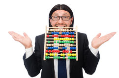 The funny man with calculator and abacus Stock Images