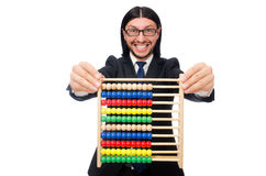 Funny man with calculator and abacus Stock Image
