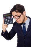 Funny man with calculator isolated on white Royalty Free Stock Images