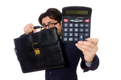 Funny man with calculator isolated on white Royalty Free Stock Photos