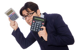 Funny man with calculator isolated on white Stock Images