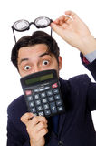 Funny man with calculator isolated on white Royalty Free Stock Photography