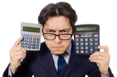 Funny man with calculator isolated on white Stock Image