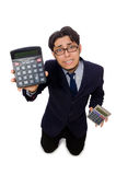 Funny man with calculator isolated on white Royalty Free Stock Image