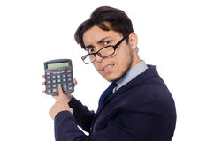 Funny man with calculator isolated on white Stock Photo
