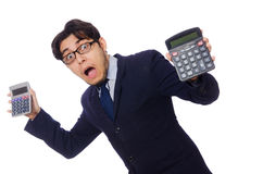 Funny man with calculator isolated on white Stock Photos