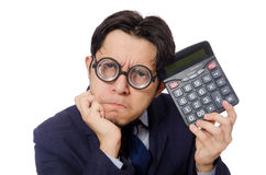 Funny man with calculator. The funny man with calculator isolated on white stock images