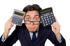 Funny man with calculator Royalty Free Stock Photography