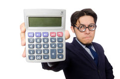 Funny man with calculator Royalty Free Stock Photos