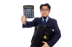 Funny man with calculator Royalty Free Stock Images