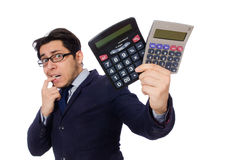 Funny man with calculator Stock Photo