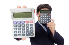 Funny man with calculator Stock Image