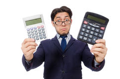 Funny man with calculator isolated on white Stock Photography