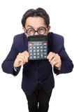 Funny man with calculator isolated on white Royalty Free Stock Photo
