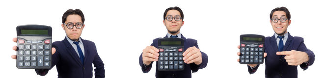 The funny man with calculator isolated on white Stock Photos