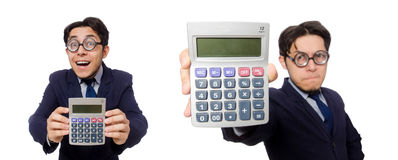 The funny man with calculator isolated on white Royalty Free Stock Images