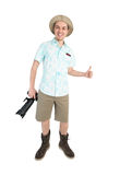Funny man with camera giving thumbs up. Royalty Free Stock Photos