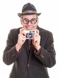 Funny Man with Camera taking a picture Royalty Free Stock Photography