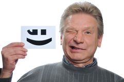 Funny man with card Royalty Free Stock Image