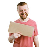 Funny man with a cardboard sign Royalty Free Stock Image