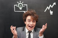 Funny man with chalked graphs painted on Royalty Free Stock Images