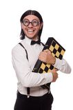 Funny man with chessboard Stock Photos