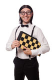 Funny man with chessboard isolated on white Stock Photography