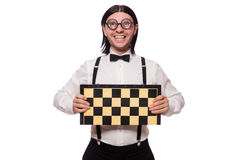 Funny man with chessboard isolated on white Royalty Free Stock Photography