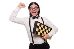 Funny man with chessboard isolated on white Royalty Free Stock Image