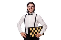 Funny man with chessboard isolated on the white Royalty Free Stock Photos