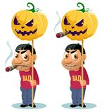 Funny man with cigar holds the Halloween pumpkin on the pole.. Funny man with cigar holds the halloween pumpkin on the pole. Happy Halloween! Cartoon styled Stock Images