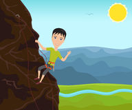 Funny man climbing on a cliff. And waves his hand. Vector illustration Royalty Free Stock Image