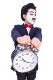 Funny man with clock Royalty Free Stock Photos